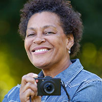 Profile portrait of Carrie Mae Weems