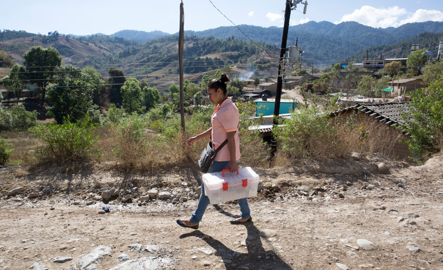 Mexican_Woman_With_Plastic_Box_Of_Supplies_Walking_On_Dirt_Road_In_Rural_Landscape