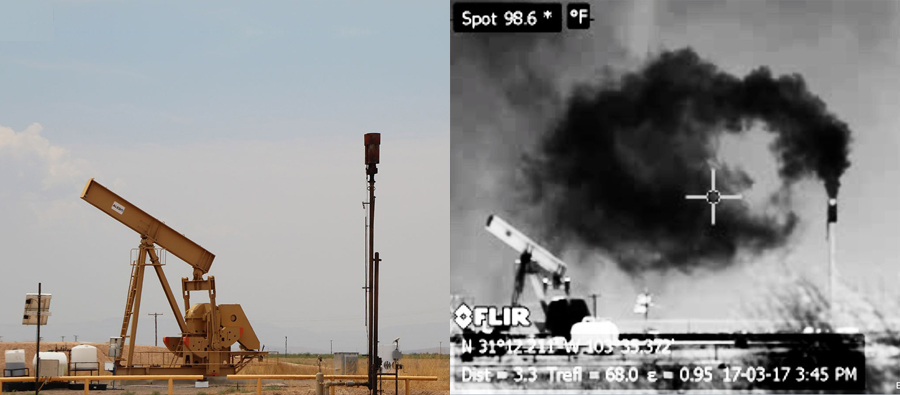 Left:_Oil_Well_In_Field_Right:_Infrared_View_Of_Oil_Well_Emitting_Dark_Cloud_Of_Gas