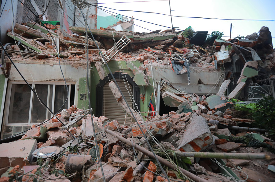 Rubble_Collapsed_Around_Entrance_To_Home_After_Earthquake_In_Mexico_City