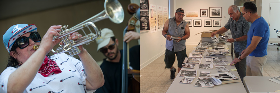 Left:_Woman_Playing_Trumpet_With_Man_Playing_Upright_Bass_Right:_Latino_Men_Looking_At_Photos_On_Table_In_Gallery