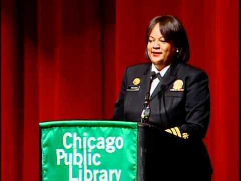 Still image from U.S. Surgeon General and MacArthur Fellow Regina Benjamin Speaking at Chicago Public Library