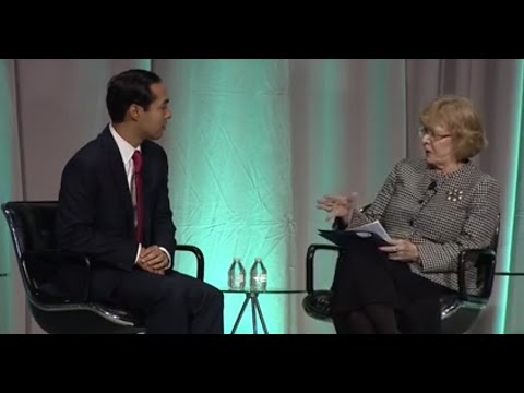 Still image from How Housing Matters Keynote Conversation with Julia Stasch and Secretary Julian Castro