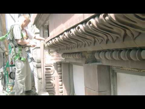Still image from Restoration of the Marquette Buildings Cornice